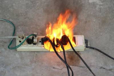 extension cord on fire