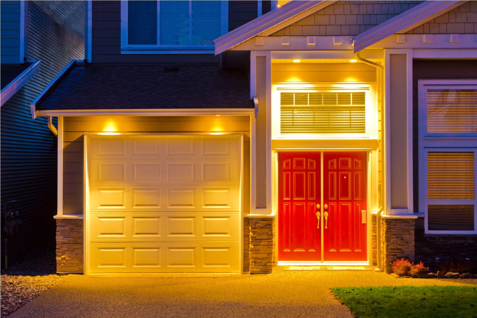 front porch lit up