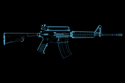A night vision image showing the gun construction of a rifle